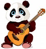 Illustration of panda plays guitar