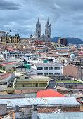 View of the city of Quito with the Basilica Churh