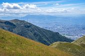 Slope of the Pichincha mountain with Quito in the background.