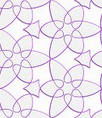 White Floristic Swirl With Purple Outline Seamless Pattern
