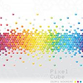 Abstract pixel cubes flash background. Vector.