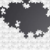 Abstract white group puzzle with black background