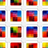 Colorful Squares And Net Seamless Pattern