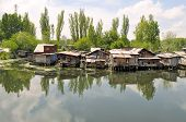 Slum houses near the river, Srinagar, India