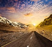 pic of nightfall  - Road in Himalayas mountains on sunset - JPG