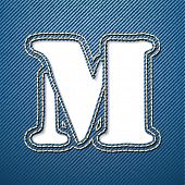 Denim jeans letter M - vector illustration
