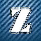 Denim jeans letter Z - vector illustration