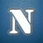 Denim jeans letter N - vector illustration