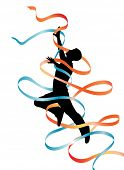 Editable vector silhouette of a leaping man with flowing ribbons