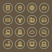 Cloud computing web icons set, coffee series