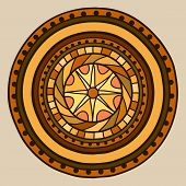 Circle With Decorative Swirls, Painted By Hand. Vector Gold In Brown Shades.