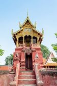 stock photo of tabernacle  - Archives Tripitaka at Wat Phra That Hariphunchai temple in Lamphun Province of Thailand - JPG