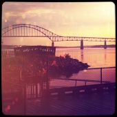 Beautiful sunset over Harbour with bridge - With Instagram effect
