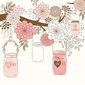 Hand Draw Wedding floral and Jar