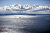 picture of view from space needle  - View out to Puget Sound from Space Needle - JPG