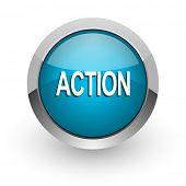 action blue glossy web icon