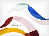 Colorful abstract flowing shapes with dotted texture on grey background
