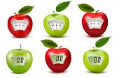 Set of apples with weight scales. Diet concept.