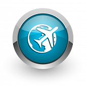 travel blue glossy web icon