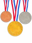 Bronze silver and golden medals isolated on white background.