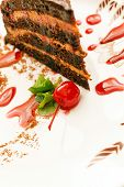 caramel cake with cherry