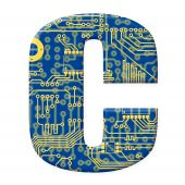 Letter From Electronic Circuit Board Alphabet On White Background - C