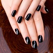 foto of black woman spa  - Beautiful women hands with black manicure after Spa procedures  - JPG