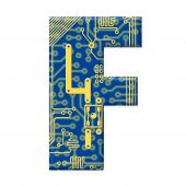 Letter From Electronic Circuit Board Alphabet On White Background - F