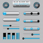 Set of various slider bar control panels in blue design - suitable for web or presentations