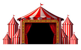 image of circus tent  - Circus stage tent design element as a group of big top carnival tents with a red curtain opening entrance as a fun entertainment icon for a theatrical celebration or party festival isolated on a white background - JPG