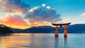 foto of gate  - Great floating gate (O-Torii) on Miyajima island near Itsukushima shinto shrine   MIYAJIMA JAPAN - NOVEMBER 15: O-Torii in Miyajima Japan on November 15 2013. Great floating gate (O-Torii) on Miyajima island near Itsukushima shinto shrine - JPG