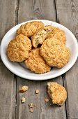 Oatmeal Cookies On Wooden Table