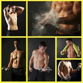Collage of handsome young muscular sportsman