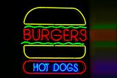 Hamburger and Hot Dog Neon Sign