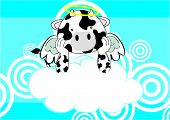 baby cow angel cartoon background