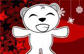 happy polar bear cartoon xmas background