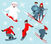 Skier and Snowboarder Winter Sport Illustration Collection