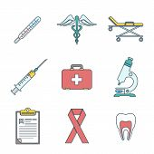 outline colored medical icons set