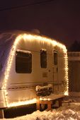 image of caravan  - Winter camping holiday decorated garland - JPG