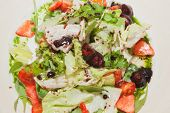 fresh salad with cherry, tomatoes and meat