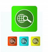 Earth With Magnifying Glass Search Icon