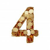 picture of four  - 3d illustration of alphabet number digit four 4 with golden coins isolated on white background - JPG