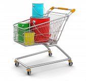 Cart and Cans of paint (clipping path included)