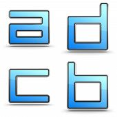 Letters A, B C, D - Set in Touchpad Style.