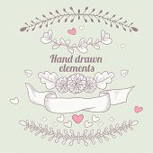 Hand Drawn Collection Of Floral Design Elements