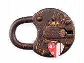 Rusty Padlock And Heart On A White Background.