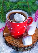 Hot Cocoa Drink In Red Mug