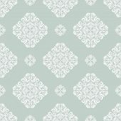 White Damask Seamless Vector Pattern. Orient Background