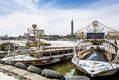 Pleasure Boats On The Nile Opposite Cairo Tower,egypt, April 13, 2014