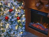 Christmas tree and fireplace.